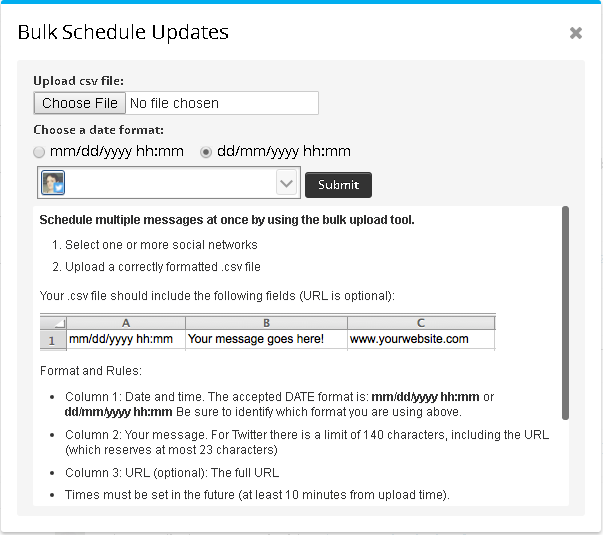 hootsuite upload box